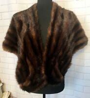 Vintage Kerrybrooke Womens Mink Stole Brown Mahogony Shawl Wrap Lined OS