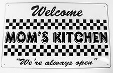 MOM'S KITCHEN Tin Sign Retro 1950's Diner Comfort Food Cooking Home Decor