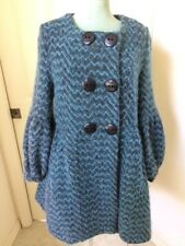 Marni Blue Black Zig Zag Knit Wool Double Breasted Coat Size 42 6 EUC