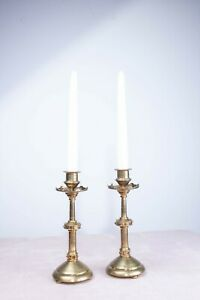 Pair of Vintage Antique 19th Century Brass Jewelled Burges Style Candlesticks
