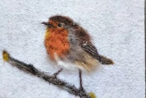 Robin - Needle Felted Card / Felt Art Painting- Original Artwork