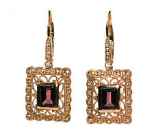 14k Rose Gold Earring with 0.17cts Diamond and Garnet or Onyx