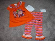 Bonnie Baby Girls Orange Elephant Boutique Outfit Set Size 18M NWT NEW Summer