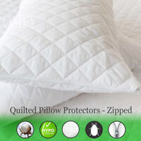 Quilted Pillow Protectors Zipped - Pack of Four (4)