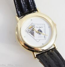 Le Watch by Quinel Ace and King Card Dealer Watch Black Leather White Analog