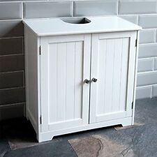 White Bathroom Cabinet With Shelf 2 Door Shelves Wooden Wall Cupboard