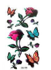 SMALL MULTI-COLOURED BUTTERFLY & ROSE TATTOO, HENNA BUTTERFLY TEMPORARY TATTOO