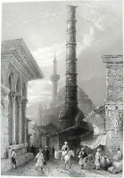 Istanbul BURNT COLUMN OF CONSTANTINE ROME EMPEROR MOSQUE ~ Art Print Engraving