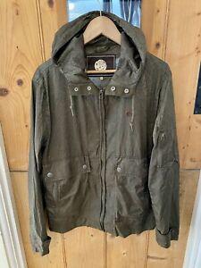 Pretty Green Khaki Paisley Print Hooded Zip Up Jacket Size Medium
