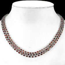 SPECIAL !NATURAL 4x3mm/260pcs.ORANGE RED GARNET 925 SILVER TENNIS NECKLACE 20.5""