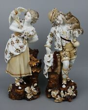 Antique 19C Dresden Volkstedt couple of figurines WorldWide