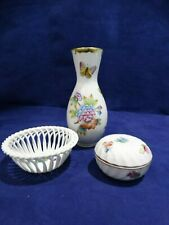 Herend Porcelain Vase - Lattice Weave Bowl - Trinket Box w/Lid
