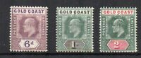 Gold Coast 1902 6d, 1s and 2s MH