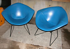 Rare 1960s PAIR Knoll BERTOIA Diamond CHAIRS Black BLUE Mid Century Modern EX