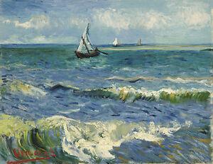 Vincent van Gogh - Zeegezicht bij Les Sain Painitng Canvas Print wall home Decor