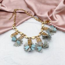 Stella & Dot Gold Stone Blue Leather Fringe Bohemian Statement Necklace NEW