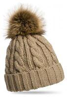 Damen Mütze Beanie Strickmütze Wintermütze Warm Bommelmütze Winter Cap 626 WA