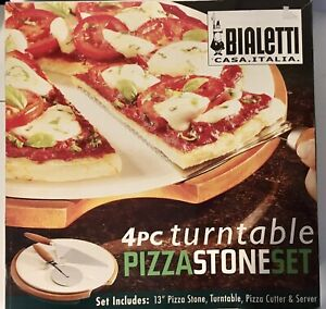 """Bialetti Pizza Baking Set 13"""" Stone & Turntable * Open Box * Incomplete *"""