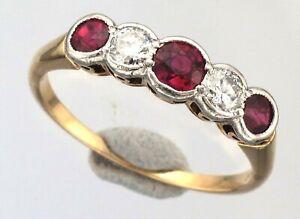 Ladies 18ct Gold 5 Stone Brilliant Cut Diamond & Round Cut Ruby Rub Over Ring
