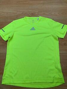 Small Mens Adidas Running Climalite T-Shirt Top Bright Green Yellow Football Gym