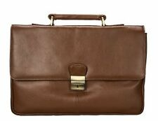 Visconti 18074 Leather Business Messenger Bag Shoulder X Large Laptop Case Brown