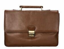 Visconti 18074 Large Men Brown Leather Briefcase Business Laptop Holder Case Bag
