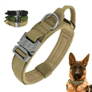 K9 Tactical Hundehalsband gepolstert mit Griff Cobra Buckle Military Nylon DE