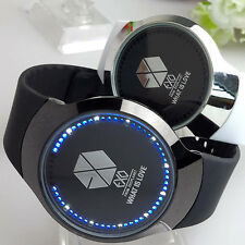 Korean Star Team EXO LED Touch Screen Electronic Leather Strap Wrist Watch Gift