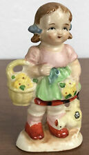 Vintage Ceramic Farm Girl Basket of Flowers and Chicken Hand Painted Figurine