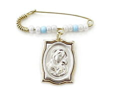 14k Yellow Gold Virgin Mary Charm Baby Safety Pin Charm Holder ~2.5g