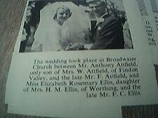 ephemera sussex 1966 wedding anthony attfield findon elizabeth ellis worthing