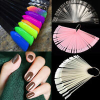 50X Nail Swatches False Display Nail Art Fan Wheel Polish Practice Tip Stick