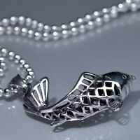 """Silver Lucky Fortune Fish Feng Shui Pendant stainless steel Chain Necklace 24"""""""