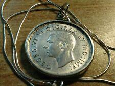 """Rare 1938 Canada Silver 50 cent .925 Bezel Pendant & 18"""" Italian Silver Chain."""