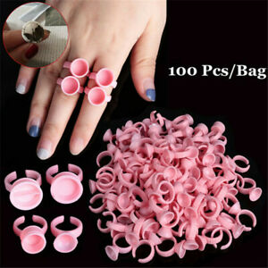 100X Glue Ring Eye Lash Extension Finger Glue Ink Holder Eyelash Disposable Ring