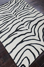 Rug USA Zebra 5' x 8' White Black Handmade Tufted Wool Soft Area Rug & Carpet
