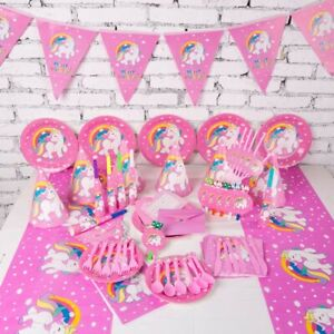 Cartoon Unicorn Tableware Set Kids Birthday Favor Baby Shower Party Decoration