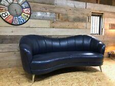 Alexander James Perle blue leather 3str sofa retro curved cocktail reception
