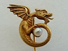 New Listing14 Karat Gold Dragon - Gargoyle Stick Pin W/ Tiny Pearl, Carter, Gough &Co.?
