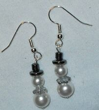 Snowman Earrings Swarovski Pearls Silver Czech Bead  for Scarf~Handcrafted