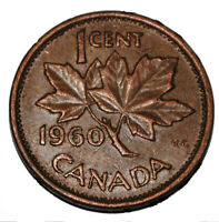 Canada 1960 1 Cent Copper One Canadian Penny Coin