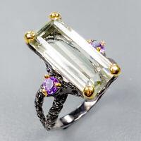 Fine art Design Natural Green Amethyst 925 Sterling Silver Ring Size 8/R123931