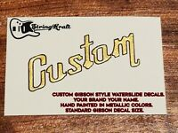 Custom Waterslide Guitar Decal for Headstock. Fibson Style Font. Your Brand Name