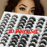 20Pairs/pack False Eyelashes 3D Faux Mink Thick Wispies Fluffies Lash Extension