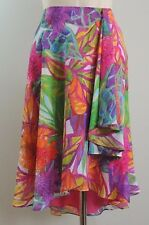 $110 Ralph Lauren Hawaiian Floral Multi-Color Lined Faux Wrap Skirt Petite 14 P