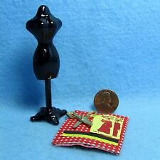 Dollhouse Miniature Sewing Dress Form Set with Fabric & Accessories ~ D4252