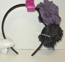 **-30%** CERCHIETTO ferma capelli CAMOMILLA nero con fiore lana grigio e viola