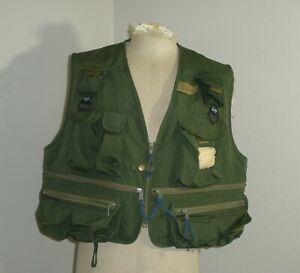 Men's 2XL COLUMBIA Fly Fishing Zip Up Vest Twill Canvas Multi-Pocket Green