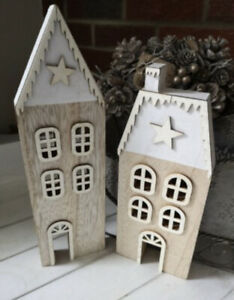 Set Of Two Silver & White Roof Wooden Christmas Houses Silver Star Detail