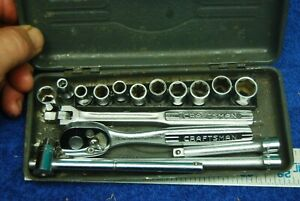 "16pc Vintage Craftsman small metal tool box Ratchets, Sockets Sets 1/4"" drive"